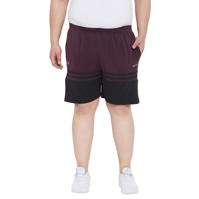 bigbanana Gladstone Maroon Solid Regular Plus Size Shorts