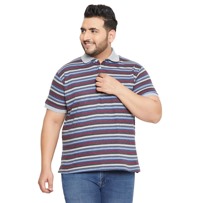 bigbanana Alice Maroon Striped Polo Collar T-shirt