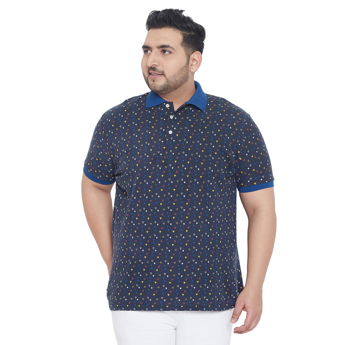 bigbanana Willey Navy Blue Printed Plus Size Polo Collar T-shirt
