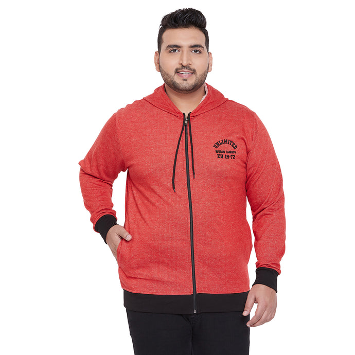 bigbanana Lios Coral Red Solid Hooded Sweatshirt