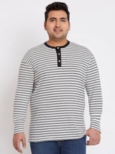 bigbanana Clint Striped White Henley Neck T-shirt