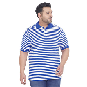 bigbanana Amiss Blue & White Striped Plus Size Polo Collar T-shirt