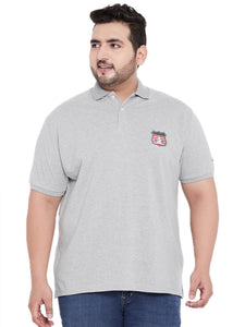 bigbanana Oscar Grey Solid Polo Collar T-shirt - Bigbanana