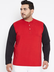 bigbanana Red Henley in Black Sleeves - Bigbanana