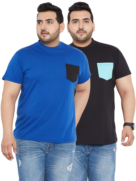 bigbanana Royal Blue and Black Round Neck Tshirt with Pocket (Pack of 2)