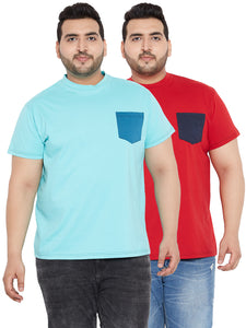 bigbanana Light Blue and Red Round Neck Tshirt with Pocket (Pack of 2)