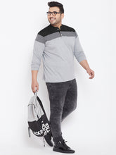 bigbanana Vagos Grey Colourblocked Plus Size Henley Neck T-shirt