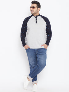 bigbanana Raaglon Grey & Navy Blue Solid Plus Size Henley Neck T-shirt