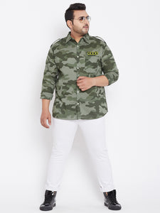 bigbanana Alger Camouflage Print Plus Size Regular Fit Striped Casual Shirt