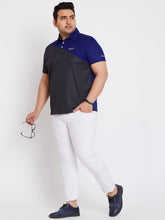 bigbanana Axton Black Colorblock Polo Collar Plus Size T-shirt