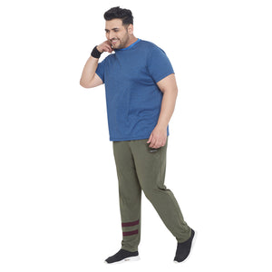 bigbanana Norman Olive Green Solid Plus Size Track Pants