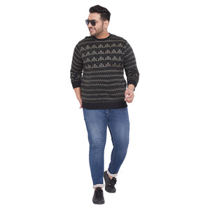 bigbanana Abraham Black and White Self Design Plus Size Sweatshirt