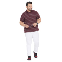 bigbanana Frankson Maroon & White Striped Polo Collar Bio-Finish T-shirt