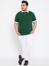 bigbanana Potomac Green Color Solid Plus Size Polo T-Shirt