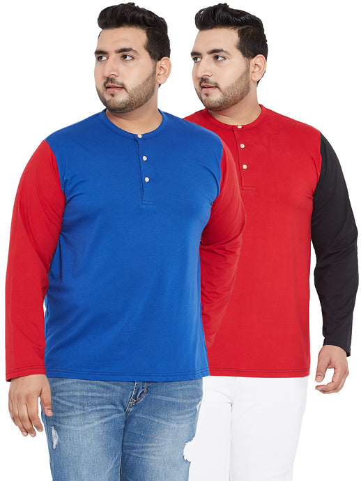 bigbanana Royal Blue and Red Henley (Pack of 2)