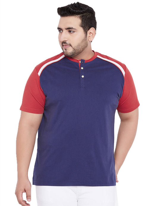 bigbanana York Navy Blue & Red Solid Henley Neck T-shirt - Bigbanana