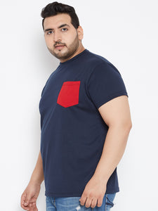 bigbanana Navy Blue Round Neck Tshirt with Red Pocket - Bigbanana
