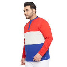 bigbanana Sydney Red & Blue Colourblocked Bio Finish Henley Neck T-shirt