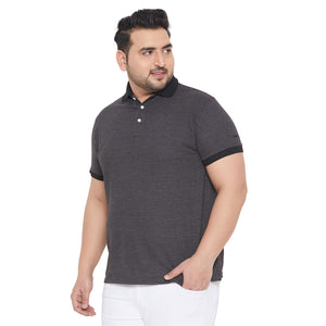 bigbanana Ian Grey Solid Polo Collar Bio Finish T-shirt