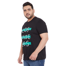 bigbanana Farold Black Printed Plus Size Round Neck T-shirt