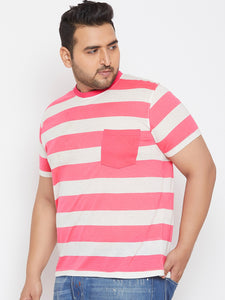 bigbanana Dean Pink Striped Plus Size Round Neck T-shirt