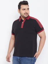 bigbanana Atlas Black Solid Polo Collar T-shirt
