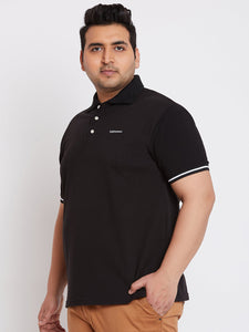 bigbanana Jackson Black Solid Plus Size Polo Collar T-shirt