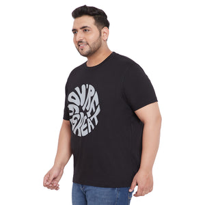 bigbanana Farlay Black Printed Plus Size Round Neck T-shirt