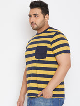 bigbanana Cyril Mustard Yellow Striped Round Neck T-shirt