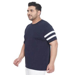 bigbanana Downtown Navy Blue Striped Round Neck T-shirt