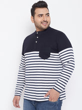 bigbanana Tito White & Black Striped Henley Neck Plus Size T-shirt