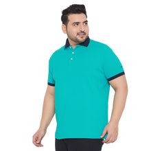 bigbanana Bevan Green Colourblocked Polo Collar T-shirt