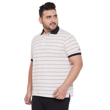 bigbanana Brancknell White Striped Polo Collar Bio Finish T-shirt