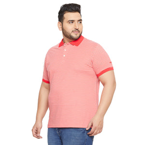 bigbanana Townsville Red Striped Polo Collar Bio Finish T-shirt