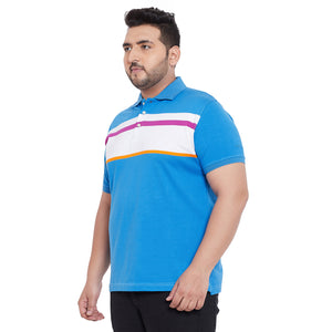 bigbanana Preston Blue Colourblocked Polo Collar Bio Finish T-shirt