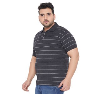 bigbanana Knott Grey & White Striped Polo Collar Bio-Finish T-shirt
