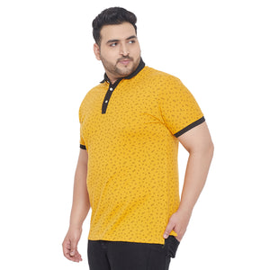 bigbanana Larkins Yellow Printed Plus Size Polo Collar T-shirt