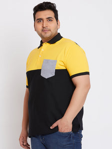 bigbanana Nasan Yellow Colorblock Polo T-Shirt