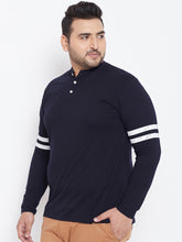 bigbanana Wimbledon Navy Blue Solid Mandarin Collar T-shirt