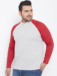 bigbanana Theron Grey & Red Solid Plus Size Henley Neck T-shirt