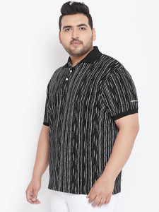 bigbanana Cecil Black Striped Plus Size Polo Collar T-shirt