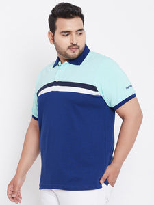 bigbanana Monaco Colorblock Plus Size Polo Collar T-shirt