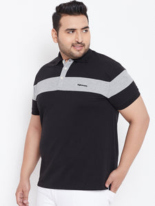 bigbanana Colin Black & Grey Solid Plus Size Polo Collar T-shirt