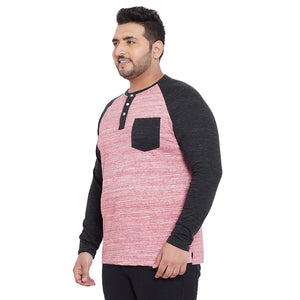 bigbanana Gham Pink & Black Solid Henley Neck T-shirt
