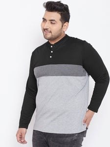 bigbanana Tyler Grey & Black Colourblocked Plus Size Henley Neck T-shirt