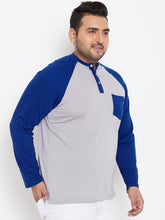 bigbanana Northwestern Plus Size Grey Colorblocked Henley
