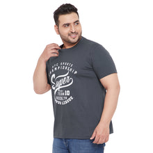 bigbanana Davin Grey Printed Plus Size Round Neck T-shirt