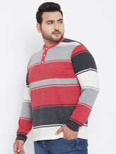 bigbanana Flyod Colorblock Henley Neck Plus Size T-shirt