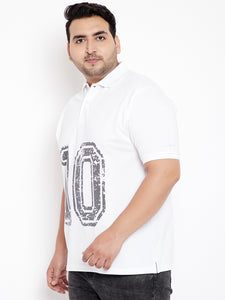 bigbanana Military White Printed Polo T-Shirt