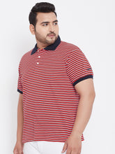 bigbanana Cannes Red Striped Plus Size Polo T-Shirt